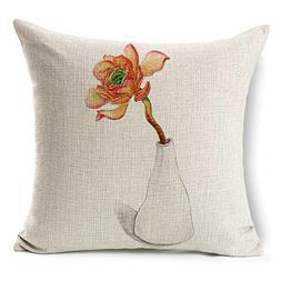WAZZ-Fresh Plant Cotton Linen Square Pillowcase Pillowcover