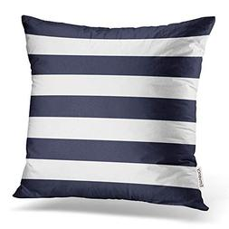 Accrocn Square Throw Pillow Covers Navy Blue Nautical Stripe