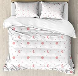 Ambesonne Stars King Size Duvet Cover Set, Moons Planets Hea