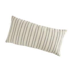 "Stone & Beam French Laundry Stripe Pillow, 12"" x 24"", Ivory,"