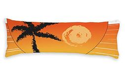 AILOVYO Sunset Soft Body Pillow Case Palm Tree Vacation Styl