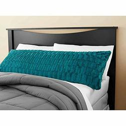 Idea Nuova Teal Textured Body Pillow Cover 20x52 Bamboo Fur