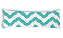 Shakaka Teal Zigzag Chevron Pattern Body Pillow Covers 20x54