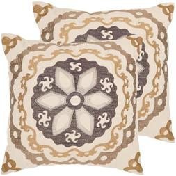 Safavieh Thea Pillow, Taupe/Gold, Set of 2