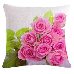 SODIAL Throw Pillow Case Pink + green Rose Sofa Home Car Dec