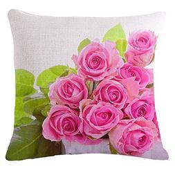 SODIAL Throw Pillow Case Pink + green Rose Sofa Home Car Dec