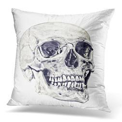 LUOLNN Throw Pillow Cover Anatomy Single Skull White Body De