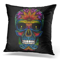 VANMI Throw Pillow Cover Colorful Dead Color Tattoo Skull on
