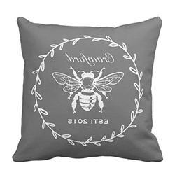 FK-XQ Throw Pillow Cover Cute Preppy Gray Honey Bee Laurel H