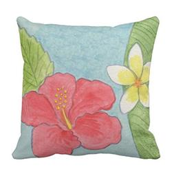 AileenREE Throw Pillow Cover Floral Hibiscus Tropical Blue P
