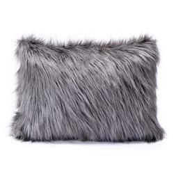 Throw Pillow Cover Grey Color Faux Fur Memory Foam Body Pill