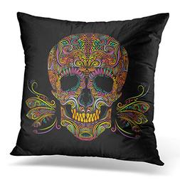 Breezat Throw Pillow Cover Sugar Color Skull on Black and Wh