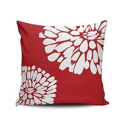 XIUBA Throw Pillow Covers Case Red White Oh Dahlia Decorativ