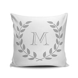 XIUBA Throw Pillow Covers Case Whiite Grey Laurel Wreath Mon