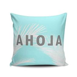 JIENIFO Throw Pillow Covers Case White Hawaiian Aloha Grey T