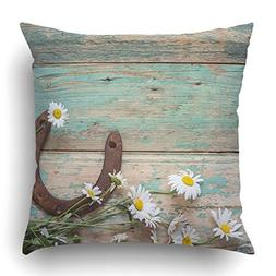 Emvency Throw Pillow Covers Rustic with Rusty Horseshoe and