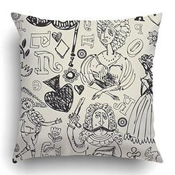 Emvency Throw Pillow Covers Vintage Antique Crazy Doodles Sc
