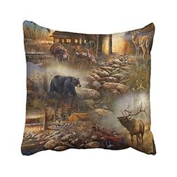 Accrocn Throw Pillow Covers Vintage Chic Cute Forest Animal