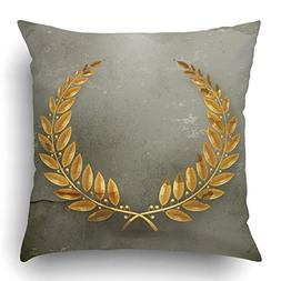 Emvency Throw Pillow Covers Winner Laurel Wreath Gold Old St