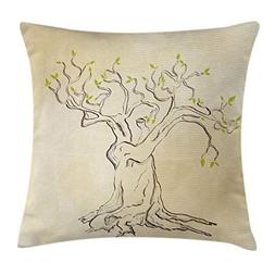 Ambesonne Nature Throw Pillow Cushion Cover by, Sketchy Tree