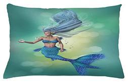 Ambesonne Underwater Throw Pillow Cushion Cover, Mermaid Upp