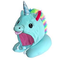 Unicorn Hooded Animal Travel Neck Pillow, Plush Toy Gift, Mi