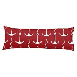 UOOPOO Nautical - Red, White, Blue Polyester Body Pillow Cov