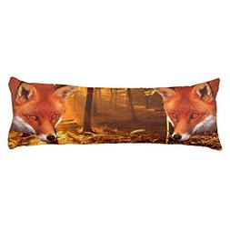 UOOPOO Red Fox Polyester Body Pillow Cover Square 20 x 54 In