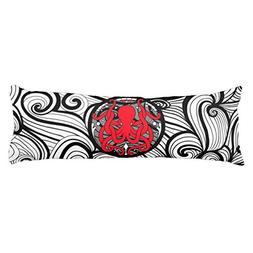UOOPOO Red Octopus Polyester Body Pillow Cover Square 20 x 5