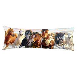 UOOPOO Wild Horses On The Sunrise Run Polyester Body Pillow