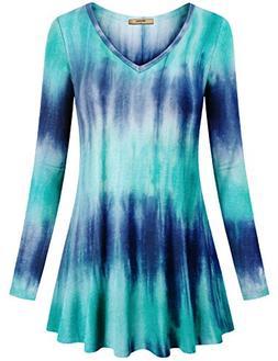 Miusey V Neck T Shirts Women, Long Sleeve Flared Comfy Shirt