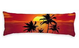 AILOVYO Vacation Style Seaside Sunset Palm Tree Soft Body Pi