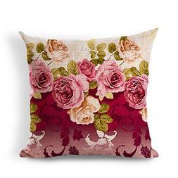 Vintage Floral Series Cotton Linen Square Throw Pillow Case