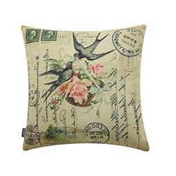 "TRENDIN 18"" X 18"" Vintage Spring Swallow Birds with Rose Flo"
