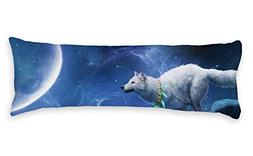 AILOVYO White Wolf to The Moon Universe Long Body Pillow Cas