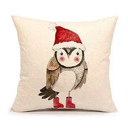 Winter Holidy Animal Owl Throw Pillow Cover Cushion Case 18