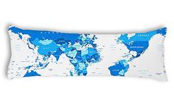 AILOVYO World Map Machine Washable Silky Shiny Satin Decorat