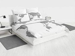 World Map Portable Crib Bedding Set Sketchy Striped Continen