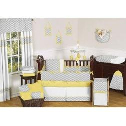 Sweet Jojo Designs Yellow and Gray Chevron Zig Zag Baby Chan