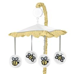 Sweet JoJo Designs Yellow and White Musical Baby Crib Mobile