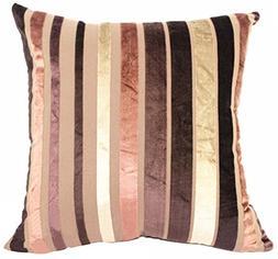 YJ Bear Colorful Striped Panne Velvet Pillow Case European V