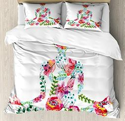 Ambesonne Yoga King Size Duvet Cover Set, Silhouette in Lotu