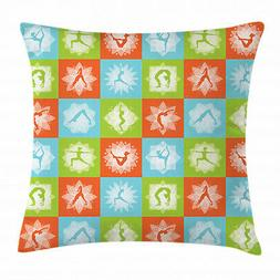 Yoga Throw Pillow Case Mind and Body Poses Lotus Square Cush