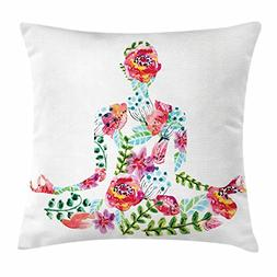 Ambesonne Yoga Throw Pillow Cushion Cover, Silhouette in Lot
